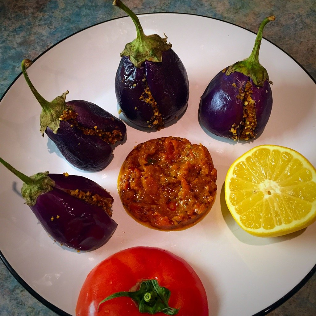 Stuffed Masala Aubergines with a spicy tomato sauce