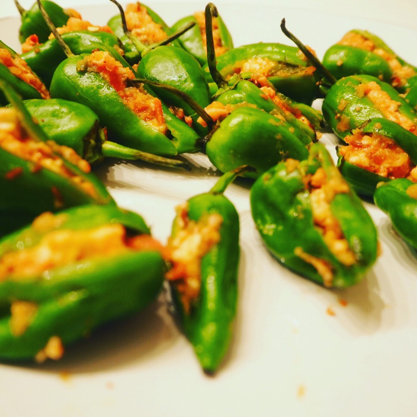 Padron Peppers stuffed with spicy paneer