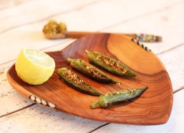 Okra stuffed with spiced sesame, coconut and peanuts