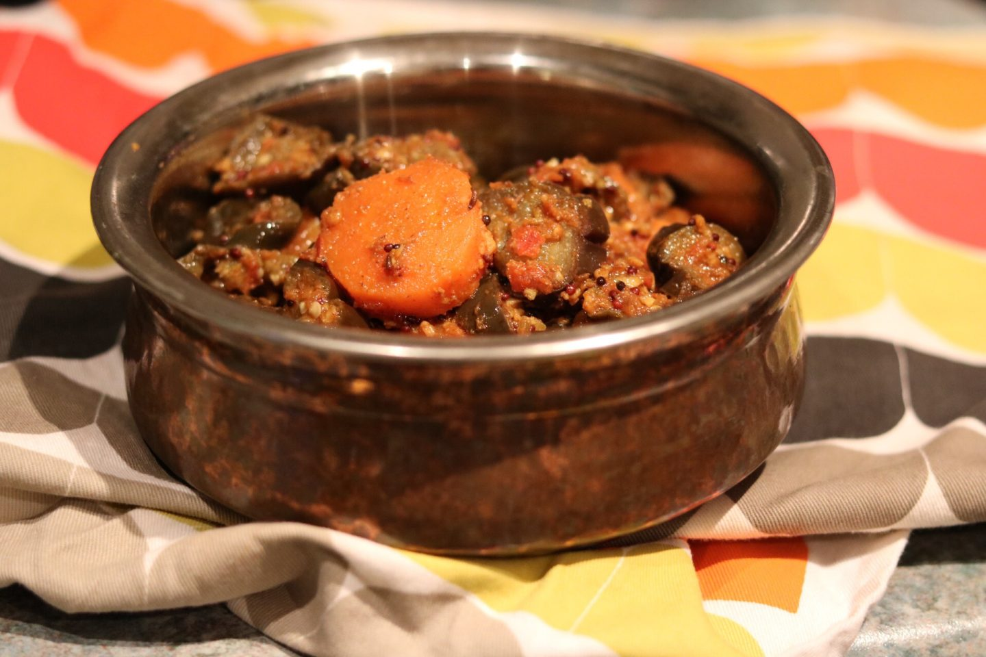 Carrot and Aubergine sabzi/ Gajar Ringra Shaak