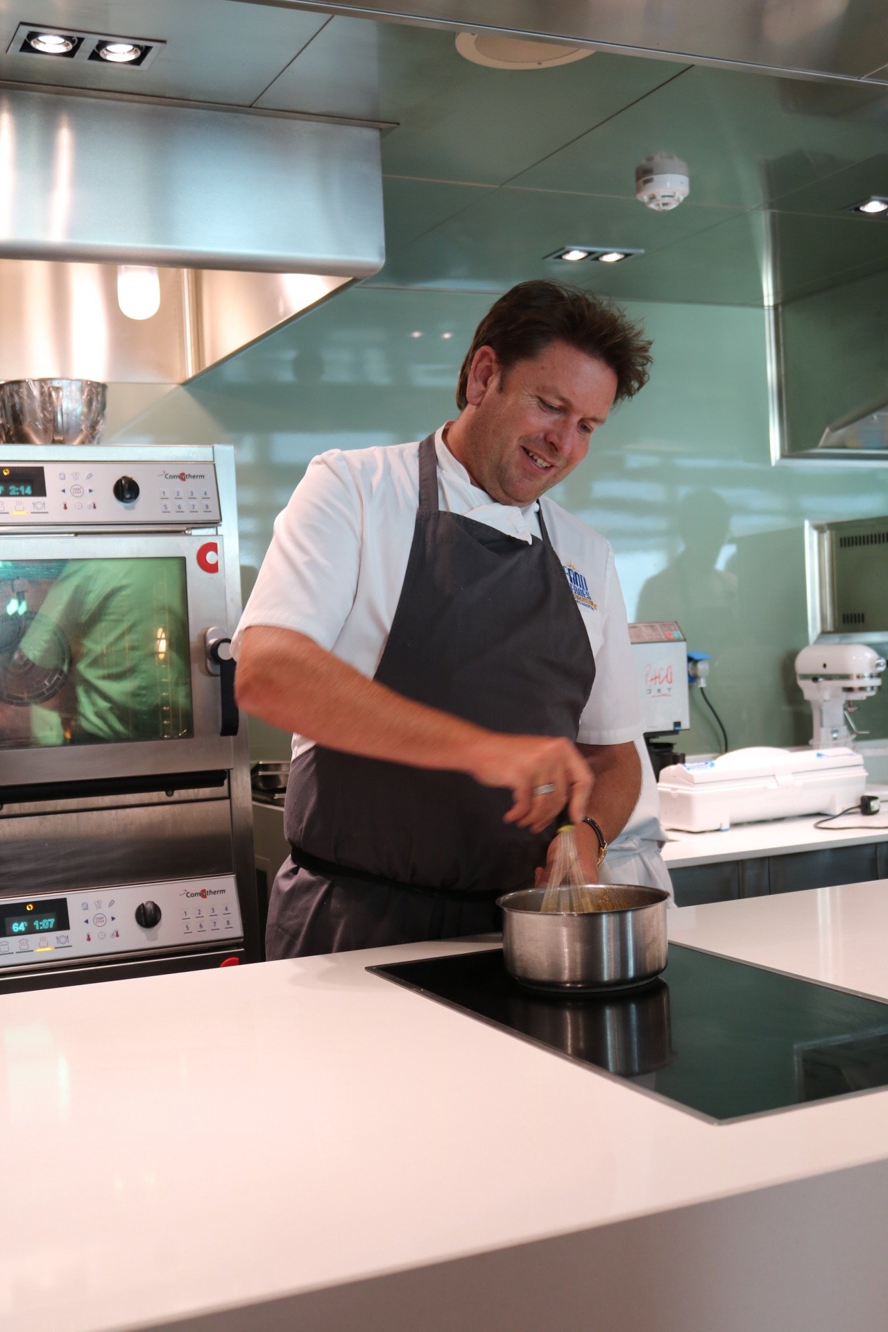Dinner with James Martin on board Britannia, while sailing in the Mediterranean